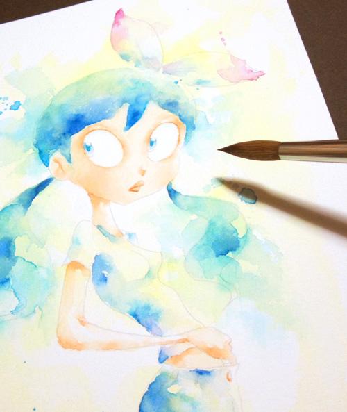 水彩画、水彩イラスト 人物