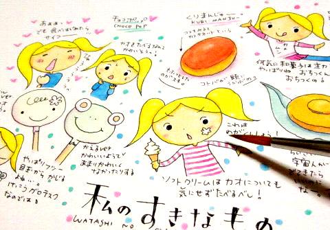 手帳に水彩イラスト
