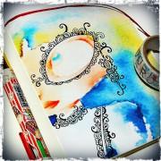 水彩で描いた絵に絵を描く